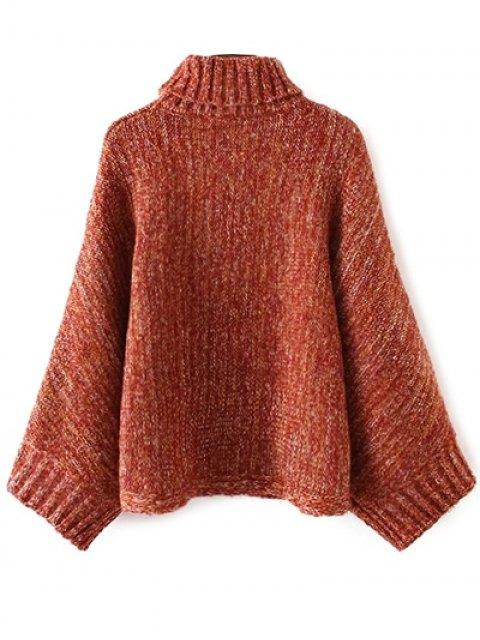 shop Marled Oversized Dolman Sweater - ORANGE + WHITE ONE SIZE Mobile