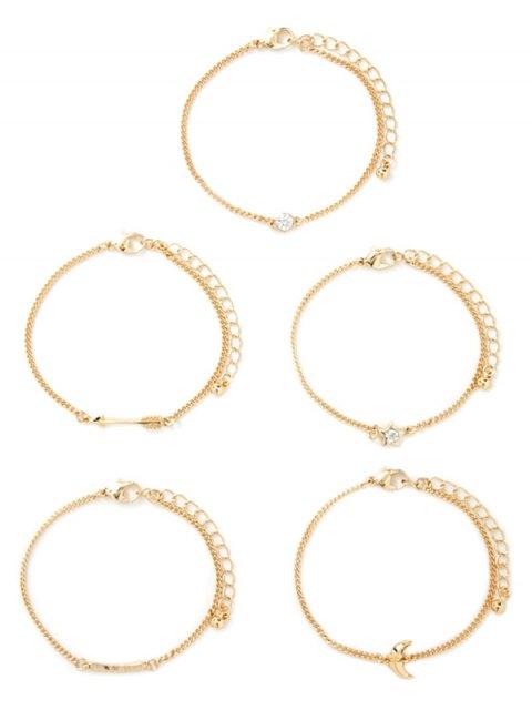 lady Rhinestone Moon Arrow Pentagram Bracelet Set - GOLDEN  Mobile
