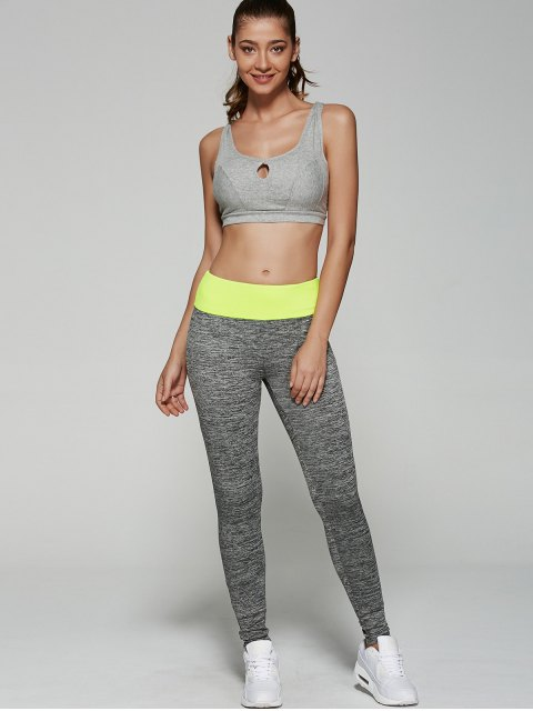 shop Space Dyed Color Spliced Leggings - NEON GREEN S Mobile