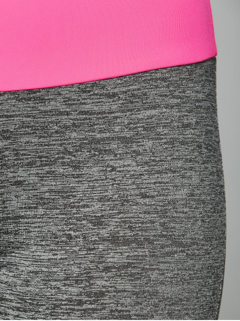 latest Space Dyed Color Spliced Leggings - ROSE RED M Mobile