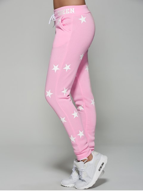 fashion Star Print Sporty Pants - PINK L Mobile