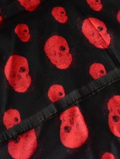 Fringed Edge Skull Shawl Scarf - RED  Mobile