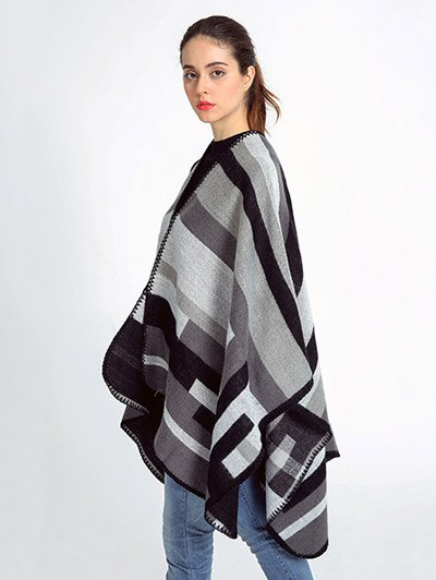 Stripe Wrap Pashmina - GRAY  Mobile