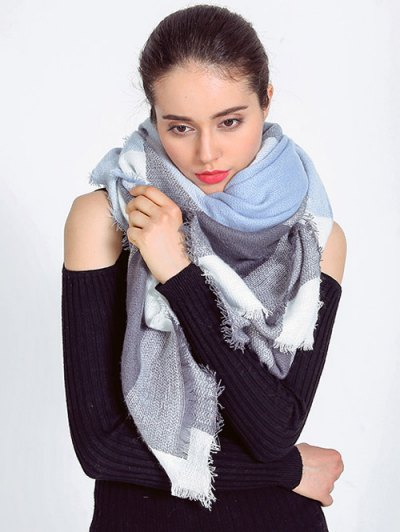 Plaid Fringed Autumn Scarf - LIGHT BLUE  Mobile