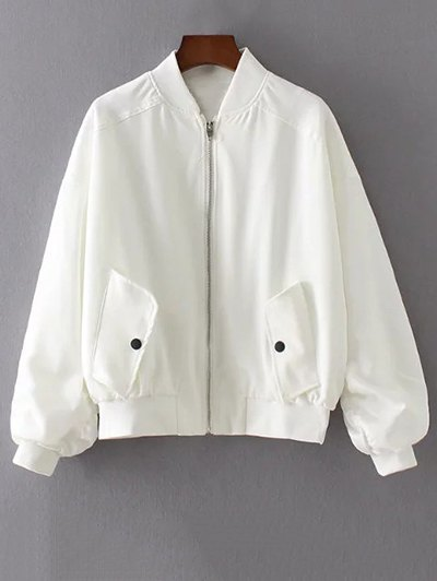 Honeybee Embroidered Bomber Jacket - White