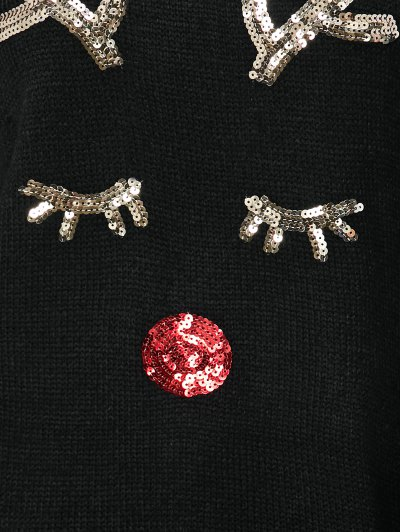 Christmas Sequined Deer Pullover Sweater - BLACK ONE SIZE Mobile