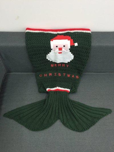 Knitted Christmas Mermaid Blanket - BLACKISH GREEN  Mobile
