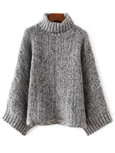 Marled Oversized Dolman Sweater - Black And Grey