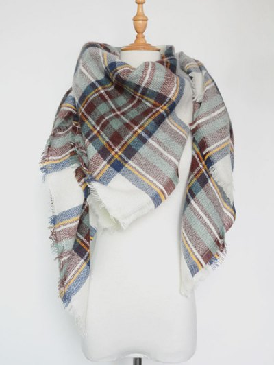 Plaid Series Fringed Scarf - LIGHT GREEN  Mobile
