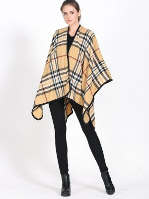 Plaid Covered Edge Wrap Pashmina - Light Khaki