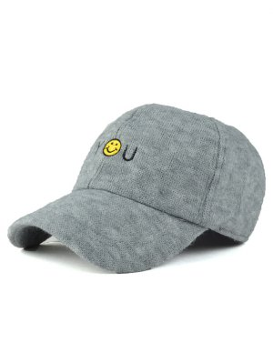 Smile Face You Embroidery Knit Baseball Hat - Light Gray