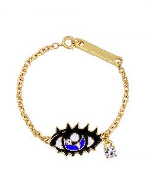 Rhinestone Moon Eye Bar Chain Bracelet - Golden