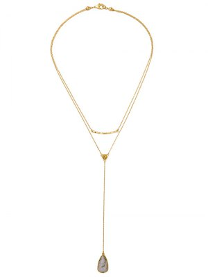 Natural Stone Layered Water Drop Necklace - Golden