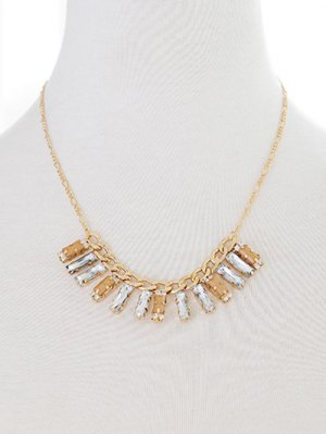 Artificial Gem Geometric Necklace - Golden