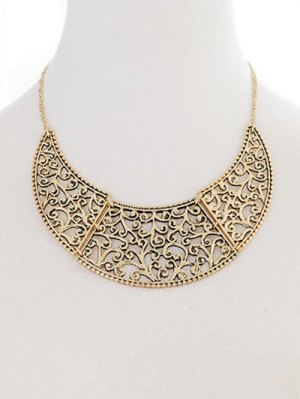 Filigree Moon Necklace - Golden