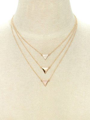 Rhinestone Triangle Layered Pendant Necklace - Golden