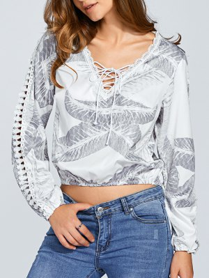 Long Sleeve Lace Up Crop Top - White