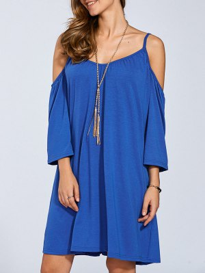 Long Sleeve Cold Shoulder Swing Dress - Medium Blue