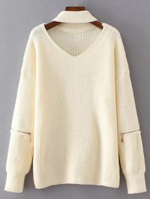 V Neck Oversized Choker Sweater - White
