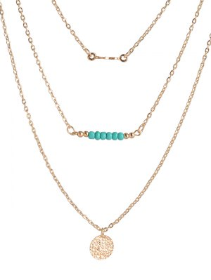 Coin Beads Bar Layered Necklace - Golden