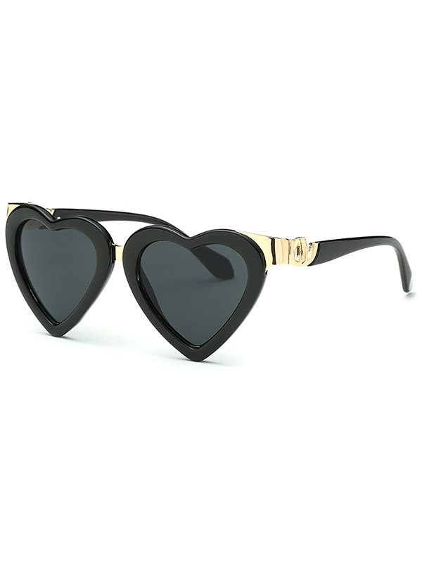 Metal Match Heart Shape Sunglasses