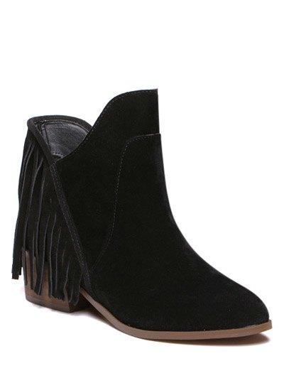 Chunky Heel Fringe Boots