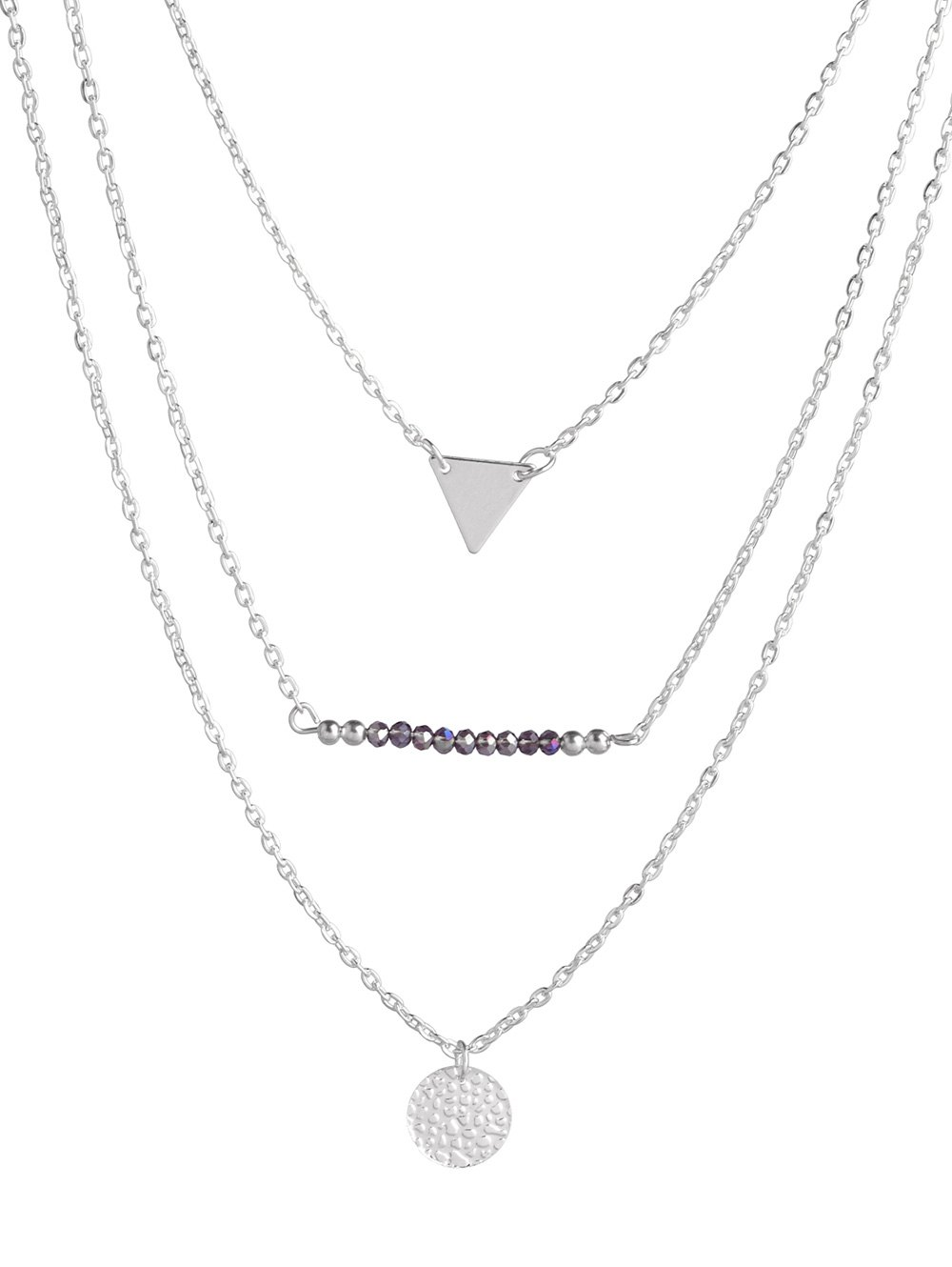 Triangle Coin Beads Layered Necklace