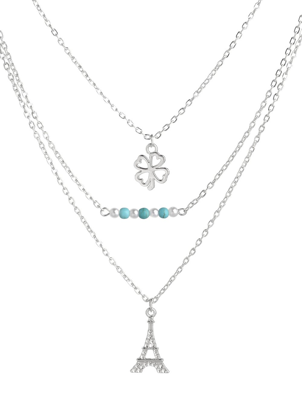 Clover Eiffel Tower Beads Layered Necklace