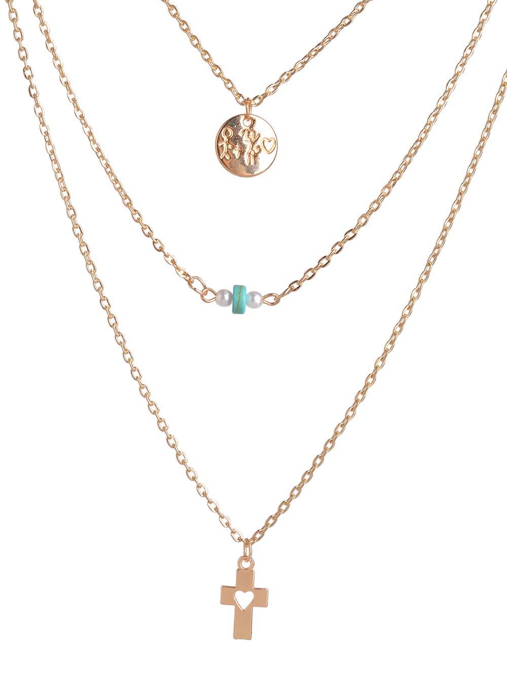 Hollowed Cross Bead Round Layered Necklace