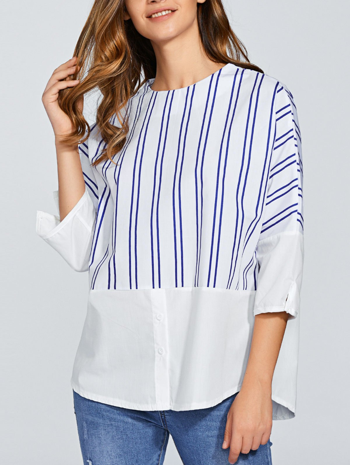 Round Neck Striped Blouse