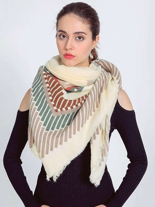 Short Stripe Fringed Edge Shawl Scarf