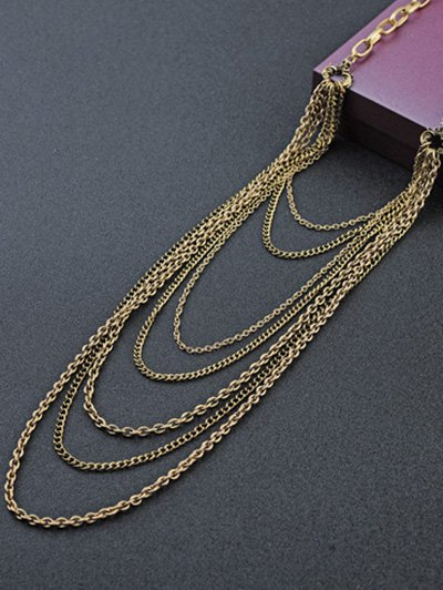 Multilayered Tassel Chains Necklace