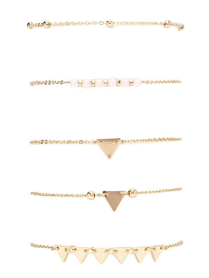 Alloy Triangle Beads Bracelet Set