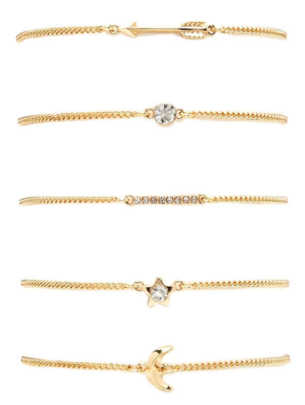 Rhinestone Pentagram Moon Arrow Bracelet Set