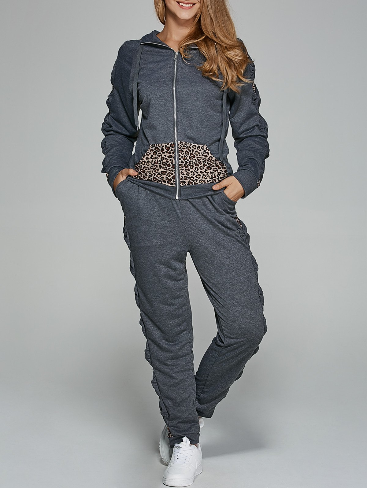 Leopard Trim Hoodie and Sweatpants от Zaful.com INT