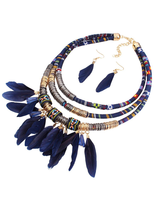 Layered Feather Jewelry Set