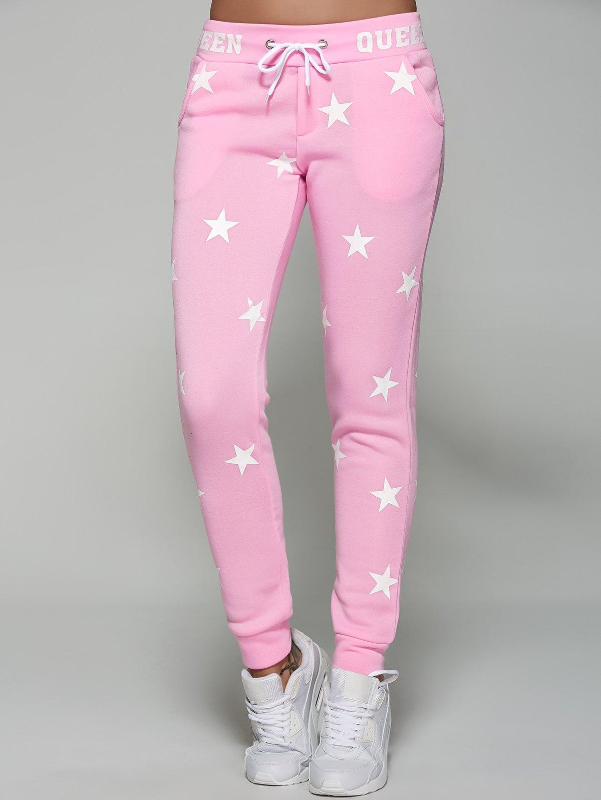 Star Print Drawstring Waist Sporty Pants