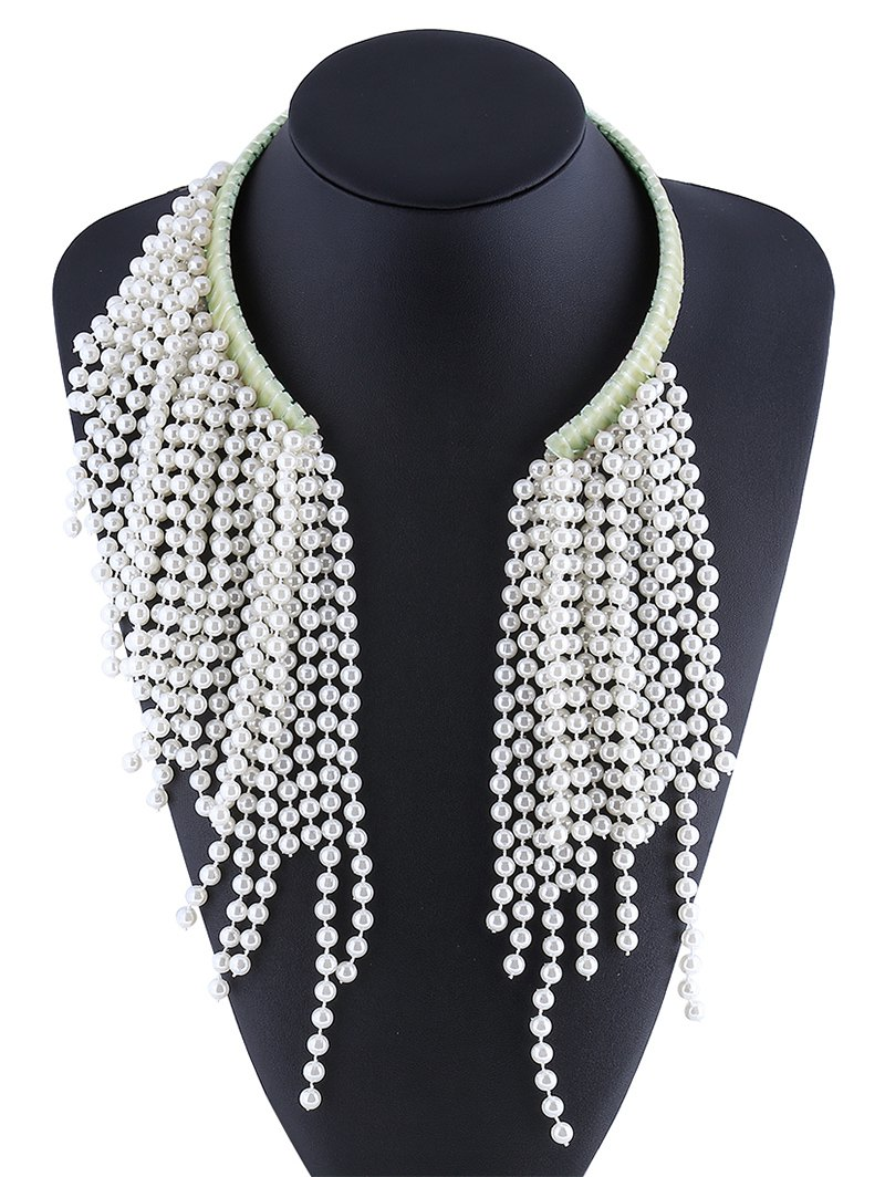Longline Faux Pearl Beaded Necklace