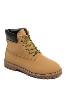 Buy Stitching Lace-Up Combat Boots 37 BROWN