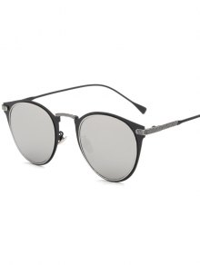 Metal Cat Eye Mirrored Sunglasses - Silver