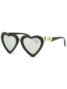 Heart Mirrored Sunglasses - Silver