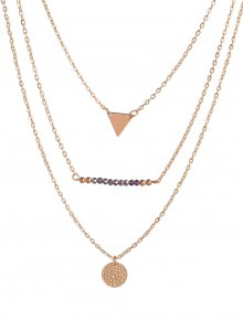 Coin Triangle Beads Layered Necklace