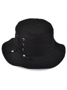 Tassel Lace-Up Felt Bucket Hat - Black