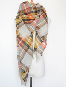 Plaid Series Fringed Scarf - White
