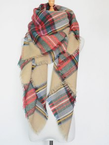 Plaid Series Fringed Scarf - Light Khaki