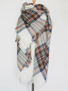 Plaid Series Fringed Scarf - Light Green