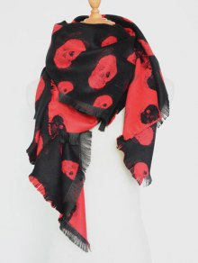 Fringed Edge Skull Shawl Scarf - Red