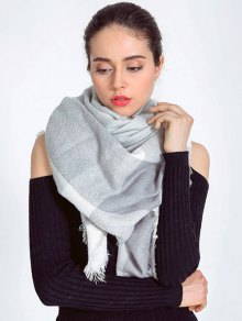 Plaid Fringed Autumn Scarf - Light Gray