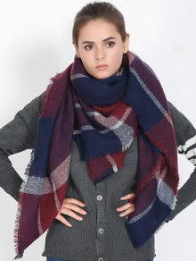 Plaid Fringed Shawl Scarf
