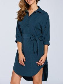 Self Tie Shirt Dress - Blackish Green